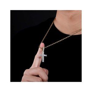 18KGold Iced Out Cross Pendent Rope Chain Necklace